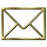 Golden Envelope. Isolated in white vector illustration
