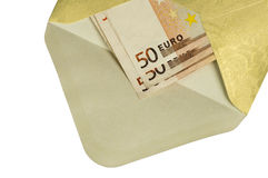 A golden envelope with money Stock Images