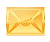 Golden envelope. On white background Stock Photography