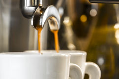 Golden espresso flowing into cups Stock Images