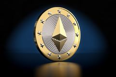 Golden Ethereum Coin - 3D rendering Royalty Free Stock Photos
