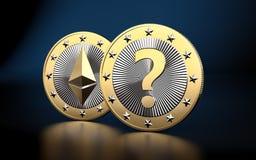 Golden Ethereum Coin - 3D rendering Stock Image
