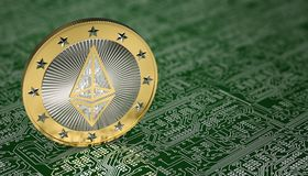 Golden Ethereum Coin - 3D rendering Royalty Free Stock Photography