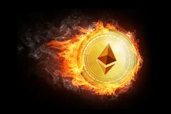 Golden ethereum coin flying in fire flame. Blockchain token grows in price on stock market concept. Burning crypto currency ethereum symbol illustration Stock Image