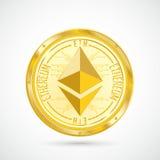 Golden Ethereum Coin stock illustration