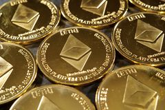 Golden ethereum cryptocurrency coins Royalty Free Stock Photography