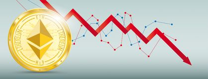 Golden Ethereum Downturn Chart. Downturn chart with golden ethereum on the green background Stock Photography