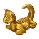 Golden ethnic figurine cat isolated on white background. Vector illustration. Golden ethnic figurine cat isolated on white background. Vector Royalty Free Stock Image