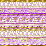Golden ethnic seamless pattern. Tribal motifs. Black, pink and gold colors on a white background. Geometric abstraction. Cute prin Royalty Free Stock Photography