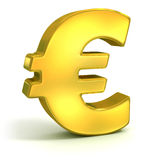Golden euro 3d symbol. Golden euro symbol isolated on white - currency 3d concept Stock Images