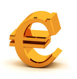 Golden euro. Euro symbol in gold, 3d Stock Photo