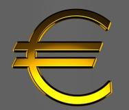 Golden euro alias. On a gray Royalty Free Stock Photos