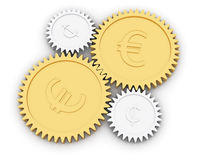 Golden euro and cent gears on white Royalty Free Stock Photos