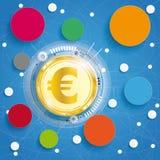 Golden Euro Circle Networks Blue Background Stock Photos