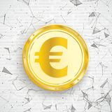 Golden Euro Coin Digital Network Connected Dots Royalty Free Stock Photography
