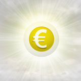 Golden Euro coin in glossy bubble in the air with flare Stock Image
