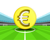 Golden Euro coin in the midfield of football stadium vector Royalty Free Stock Image