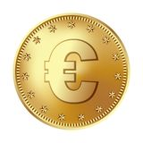 Golden euro coin, money. stock images