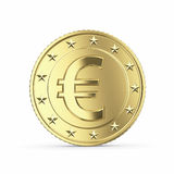 Golden euro coin on white background Royalty Free Stock Photography