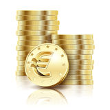 Golden Euro coins Stock Photography