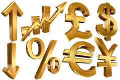 Golden euro dollar pound yen arrow. Golden economy symbols euro dollar pound yen arrows per cent and statistic bars Stock Photography