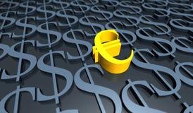 Golden Euro and dollar signs Stock Photos