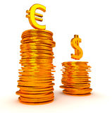 Golden Euro and Dollar symbols over coins stacks Stock Photography