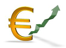 Golden euro growing. Euro growing isolated over white background with shadow (euro Sign Clipart Profits Up Stock Image