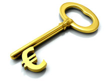 Golden euro key Royalty Free Stock Image