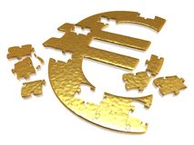 Golden euro puzzle Stock Image