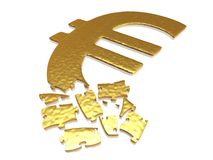 Golden euro puzzle Royalty Free Stock Images
