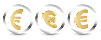 Golden euro sign 3D Stock Photos