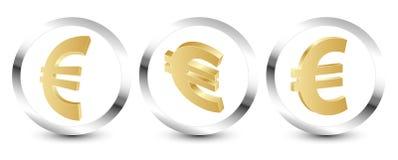 Golden euro sign 3D stock photos