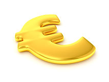 Golden euro sign. Golden glossy euro sign isolated on white royalty free illustration