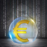 Golden euro sign in bubble Royalty Free Stock Images