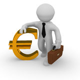 Golden Euro Sign. Business man with a golden Euro sign on a white background Stock Image