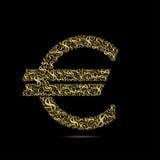 Golden euro sign. Consisting of dollar symbols, Finance business money concept Stock Photos