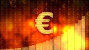 Golden euro sign, currency growth graph on background, financial crisis averted. Stock footage Stock Photos