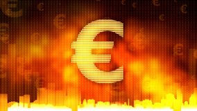 Golden euro sign on fiery background, money rules the world, financial market. Stock footage Royalty Free Stock Image