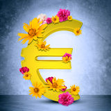 Golden euro sign. With flowers on grey wall background. 3D rendering royalty free stock images