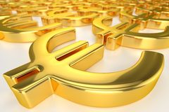 Golden Euro Sign Royalty Free Stock Photo