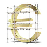 Golden Euro sign with scaffold. Isolated on a white background. 3d render Royalty Free Stock Images
