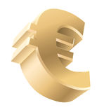 Golden Euro sign. Shiny Golden euro currency sign isolated on white background. Vector illustration Stock Images