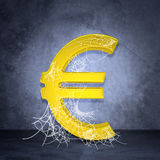 Golden euro sign in spider web Royalty Free Stock Photography