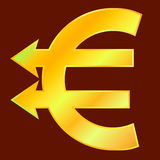 Golden euro sign. With two arrows like pointers. Vector illustration Royalty Free Stock Photos