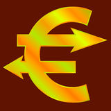 Golden euro sign. With two arrows like pointers. Vector illustration Royalty Free Stock Photography