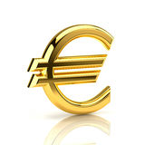 Golden euro sign on white. Euro sign, made of gold, stands upright on a white background royalty free stock photo