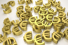 Golden euro signs Royalty Free Stock Photos