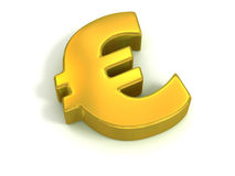 Golden euro symbol. Isolated on white - currency 3d concept Stock Images