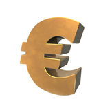 Golden Euro Symbol 3D. Euro symbol in 3d and gold Royalty Free Stock Photos